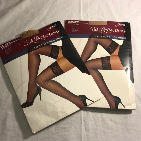 c5d2a2320c1 Hanes Accessories | Silk Reflections Thigh Highs Bundle Sz Ef | Poshmark